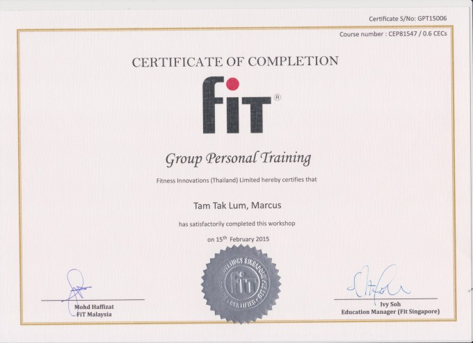 Group Fitness Instructor Certification Singapore Gymtutor