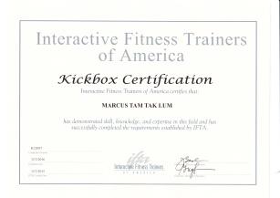 Marcus Tam Kickbox cert IFTA 2015